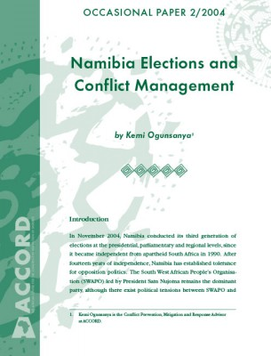 ACCORD - Occasional Paper - 2004-2 - Namibia Elections and Conflict Management