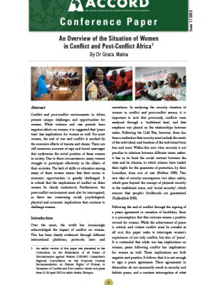 ACCORD - Conference Paper - 1-2012 - An Overview of the Situation of Women in Conflict and Post Conflict Africa