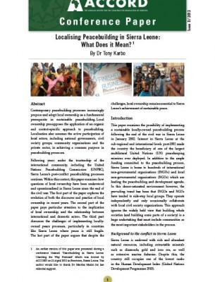 ACCORD - Conference Paper - 3-2012 - Localising Peacebuilding in Sierra Leone