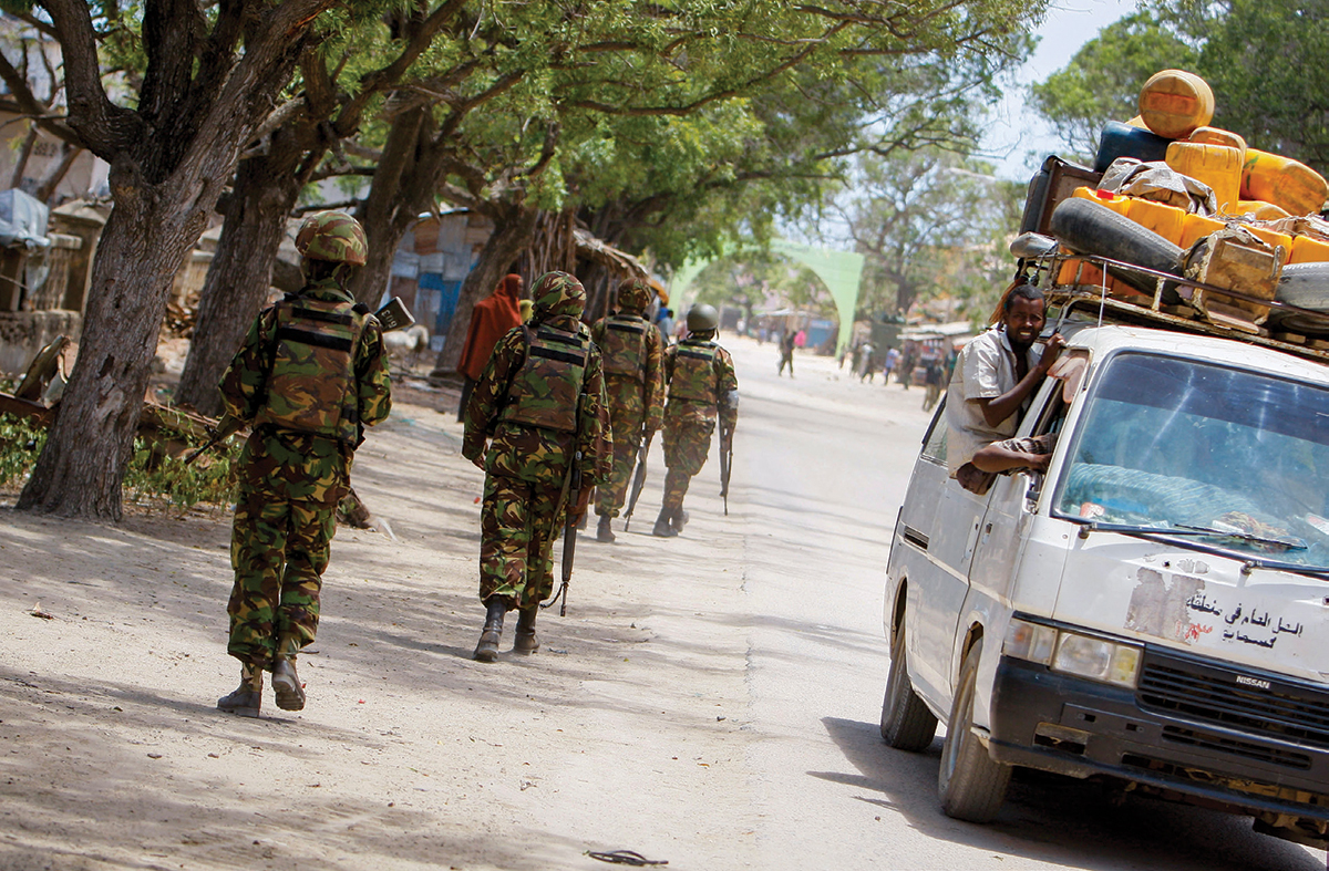 Soldiers of the Kenyan Contingent serving with the African Union Mission in Somalia in the southern Somali port city of Kismayo