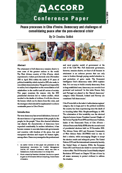 ACCORD - Conference Paper - 1-2013 - Peace processes in Cote dIvoire