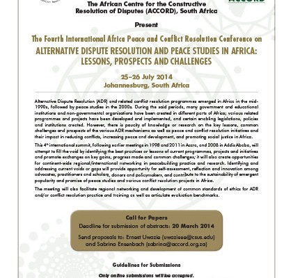 ACCORD - Conference Paper - 2014 - The Fourth International Africa Peace and Conflict Resolution Conference on Alternative Dispute Resolution and Peace Studies in Africa