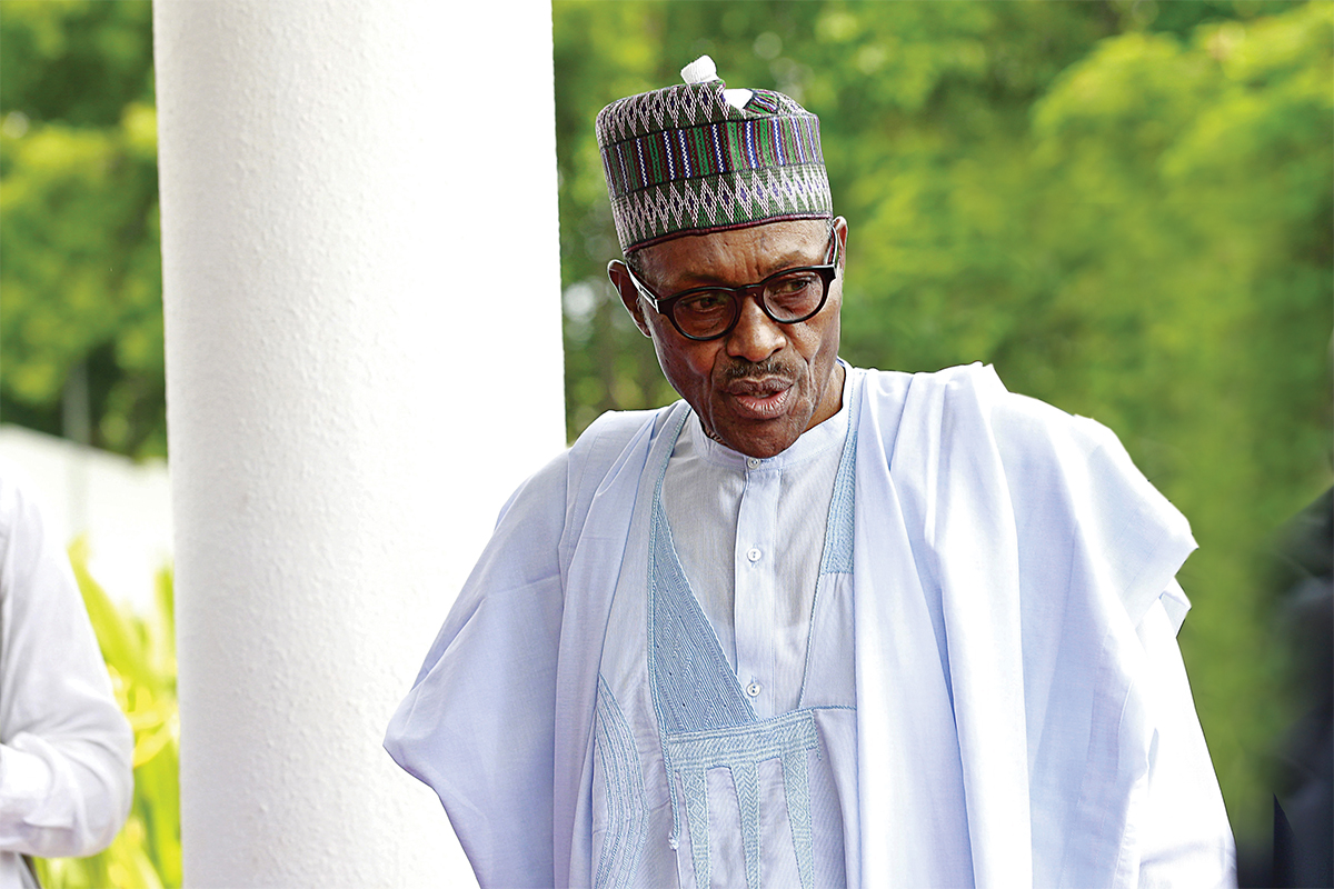 Nigeria's President Muhammadu Buhari arrives for Summit of Heads of State and Governments of the Lake Chad Basin Commission at presidential wing of the Nnamdi Azikiwe International Airport Abuja