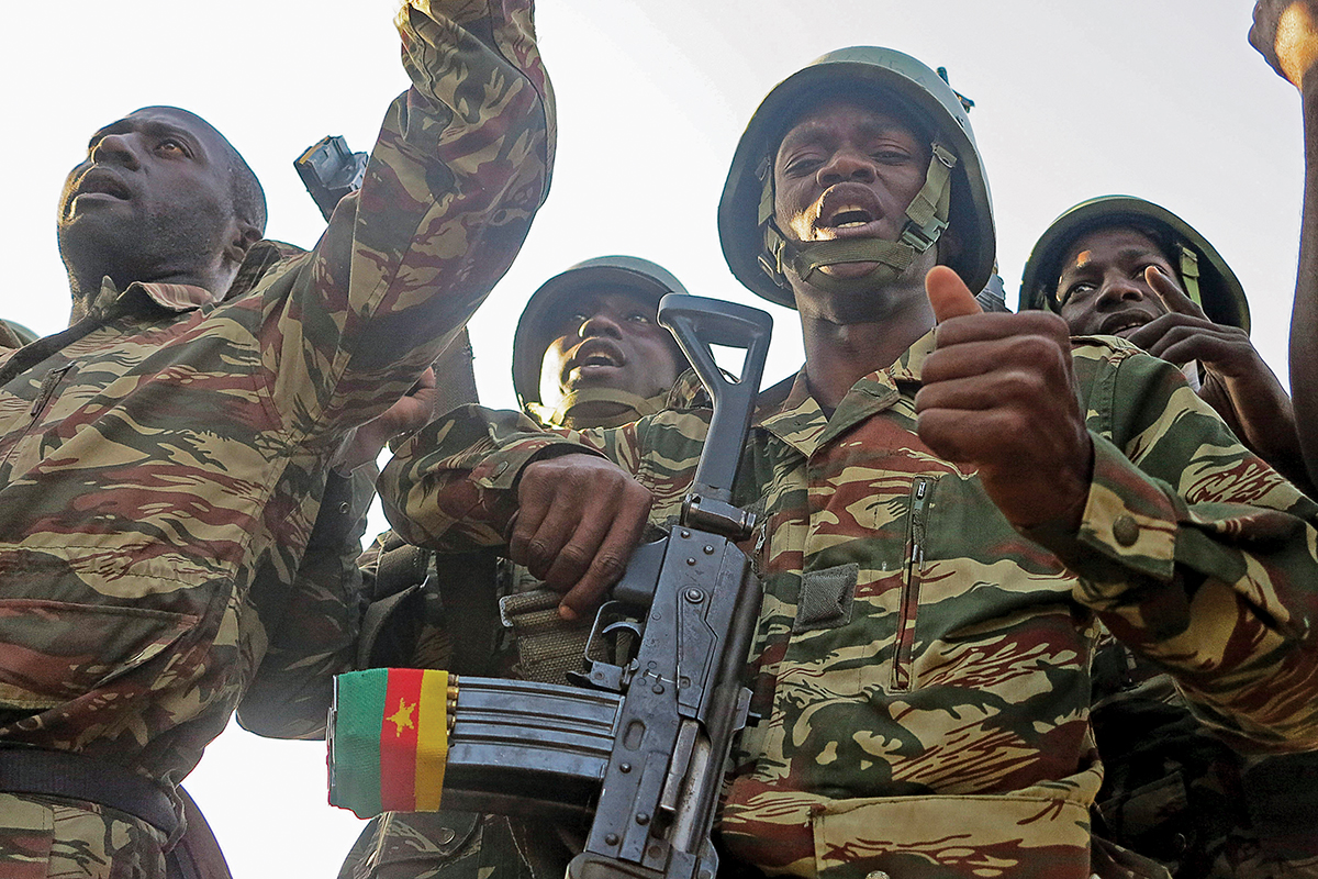 Cameroonian soldiers singing