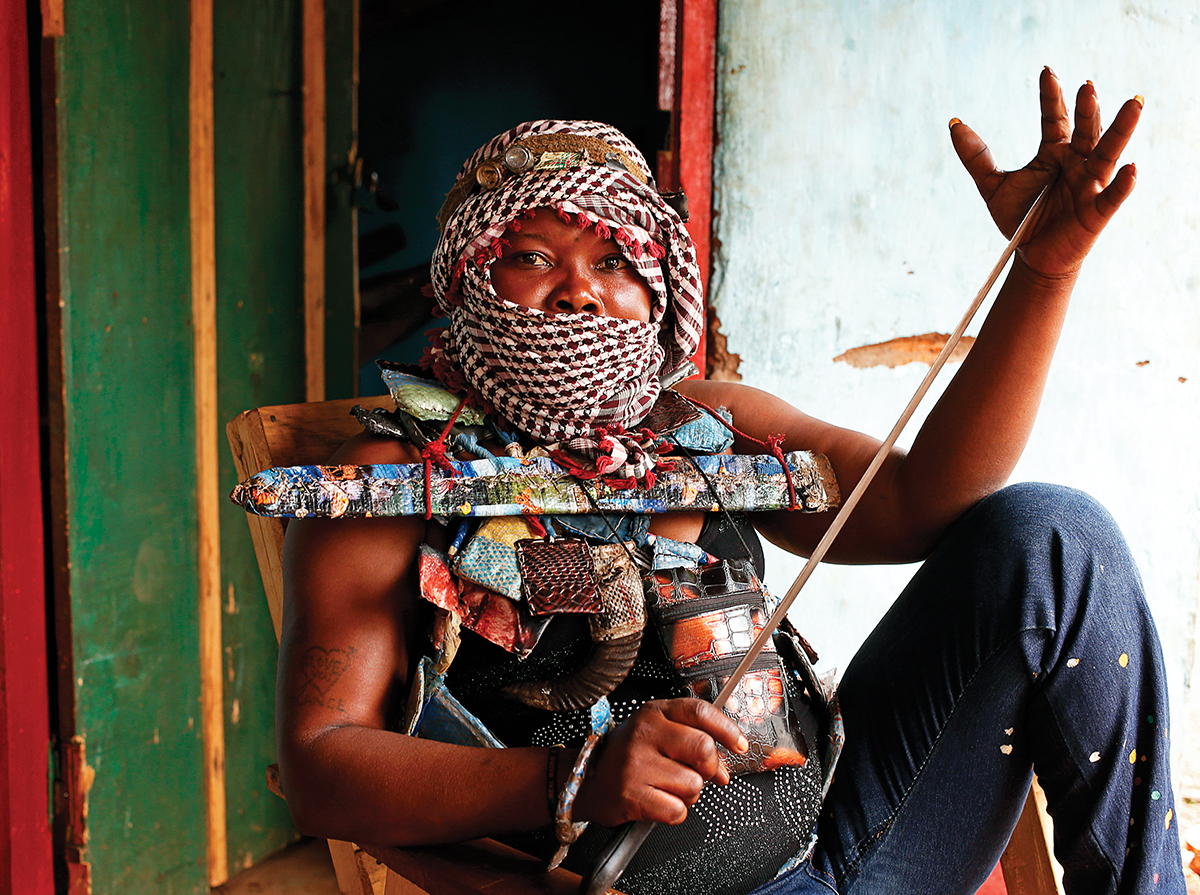 Masked female member of the anti-balaka