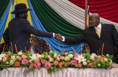 President Kiir with Yoweri Kaguta