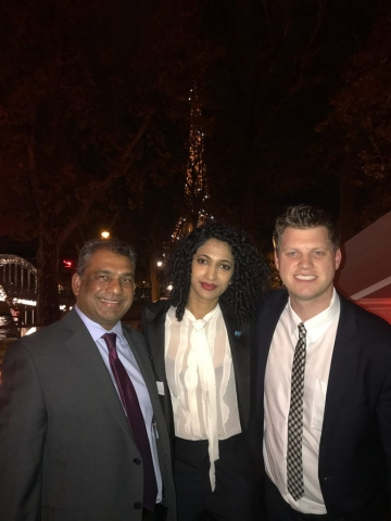 Adv. Gounden with Founder of SheSays – Trisha Shetty and Vice President of Global Citizen – Michael Sheldrick at the Digital Peace Cocktail event in Paris