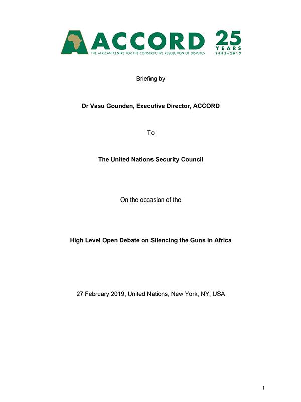 ACCORD Vasu Gounden Briefing UNSC