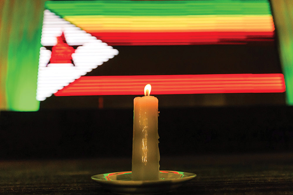 Candle lit for peace