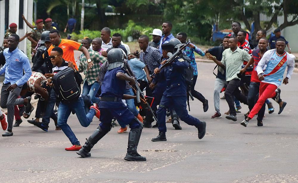 Congolese Riot Policemen
