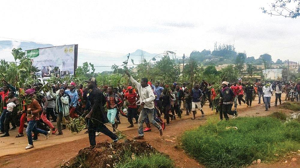 Demonstrators march Bamenda