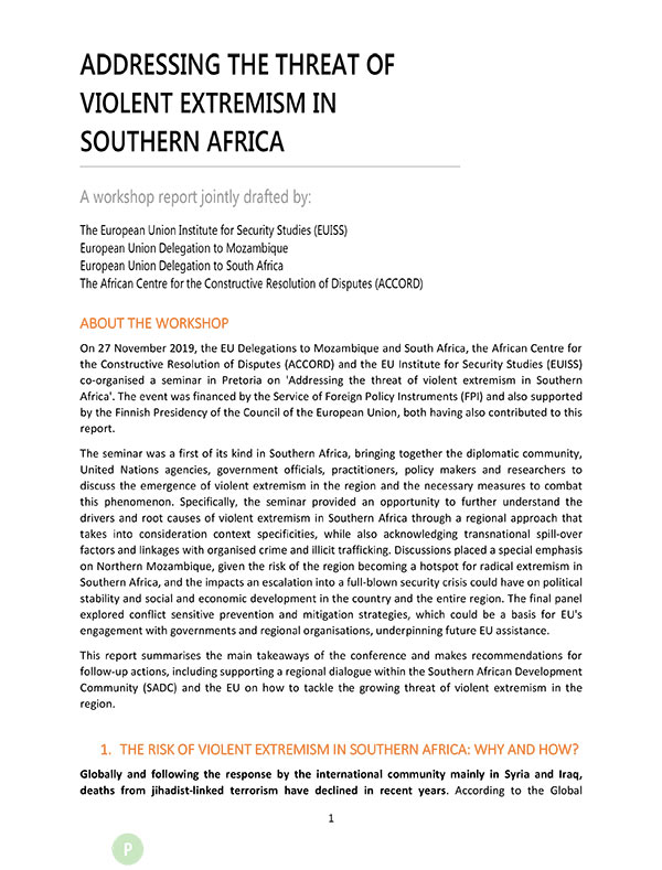 Addressing Threat Violent Extremism Southern Africa