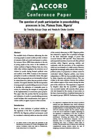 ACCORD - Conference Paper - 2-2013 - The question of youth participation in peacebuilding processes in Jos