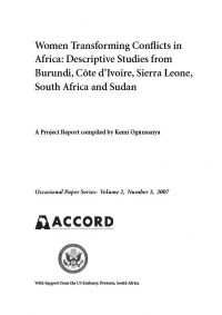 ACCORD - Occasional Paper - 2007-3 - Women Transforming Conflicts in Africa