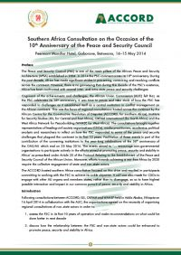 ACCORD - Report - 2014 -Southern Africa Consultation on the Occasion of the 10th Anniversary of the Peace and Security Council