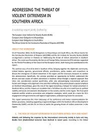 Addressing Threat Violent Extremism Southern Africa